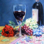 Still life oil painting by artist Jill Brabant. A rose, wine bottle, wine glass and blossums.