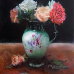 Floral still life painting by Jill Brabant chocolate pot with roses