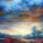 An Impressionistic landscape in oil, the warm glow of the sky after a storm by Jill Brabant