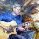 Impressionistic oil painting of man playing guitar by Jill Brabant
