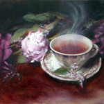 Still life oil painting by artist Jill Brabant featuring pink peonies and a steaming cup of warm tea in a china cup.