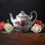 Still life oil painting by artist Jill Brabant. Teapot with red and white roses.