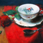 Still life, oil painting by artist Jill Brabant, featuring a red rose a china teacup with a hunt club design.