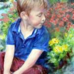 Portrait of a little boy in the garden in oil, by Jill Brabant