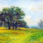 A small oil painting of the meadow and a grouping of trees at Oatlands Plantation in Leesburg, Va.