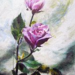 Floral oil painting by artist Jill Brabant, roses with pink petals