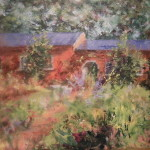 Oil painting of the garden in front of an arched building by Jill Brabant