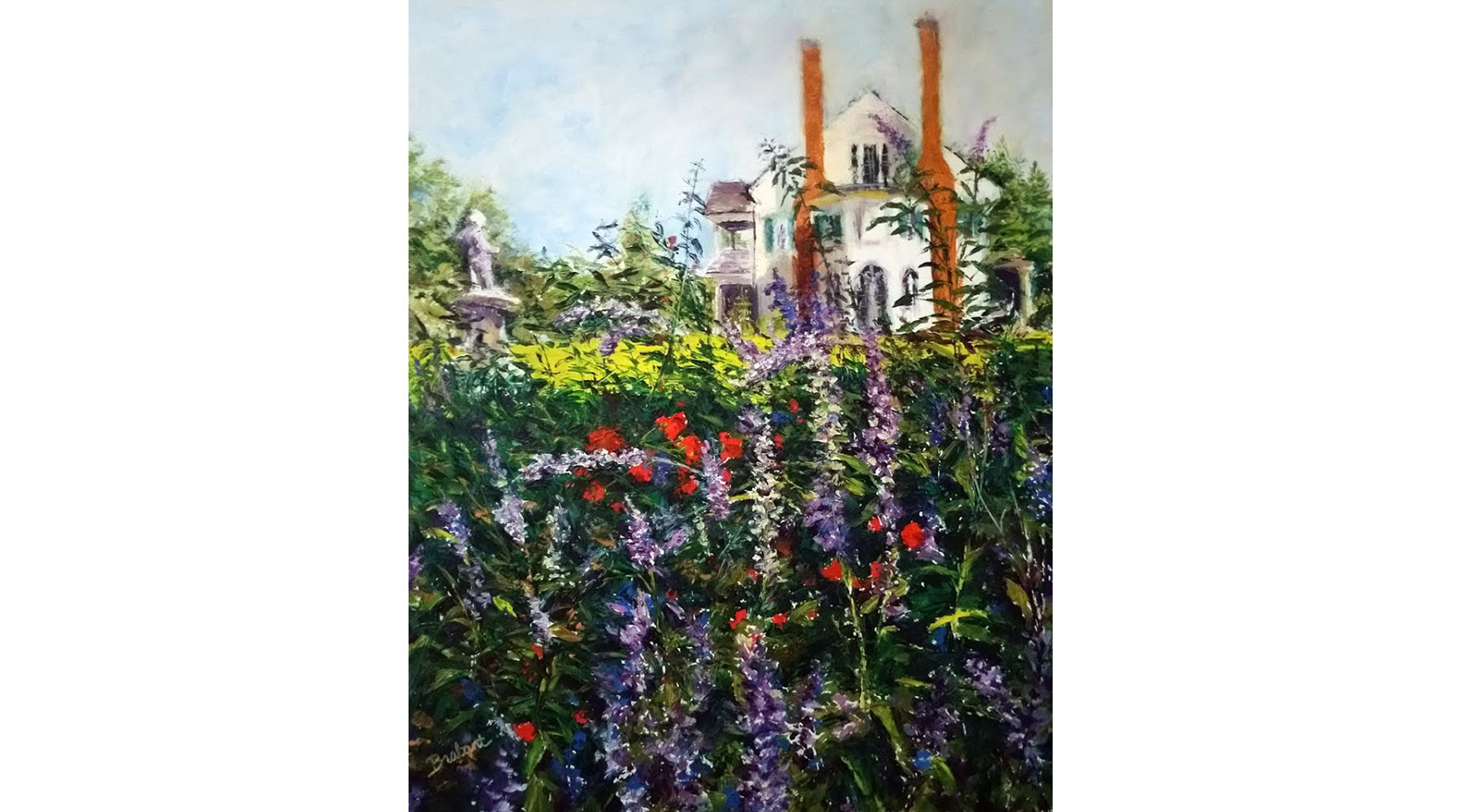 Belmont, Through the Garden, oil, 20 x 16 by Jill Brabant